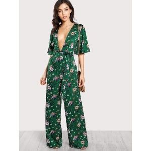 Shein Plunge Neck Green Floral Palazzo Jumpsuit